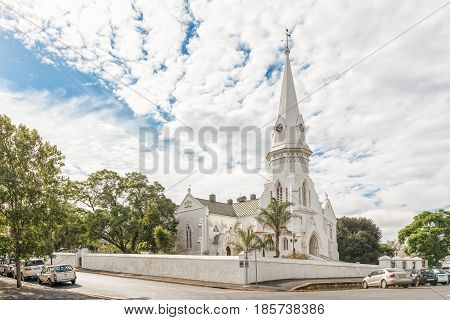 MALMESBURY SOUTH AFRICA - MARCH 31 2017: The Dutch Reformed Church Swartland in Malmesbury a town in the Swartland area of the Western Cape Province