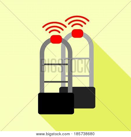 Shoplifter scanner icon. Flat illustration of shoplifter scanner vector icon for web