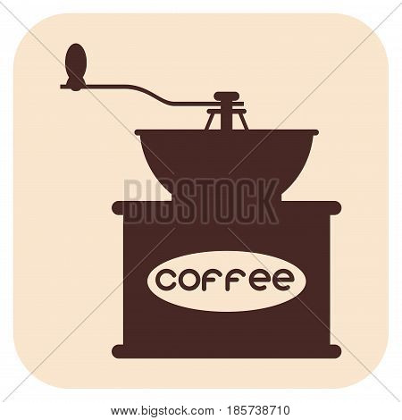 Coffee grinder vector icons, grain, on a beige background