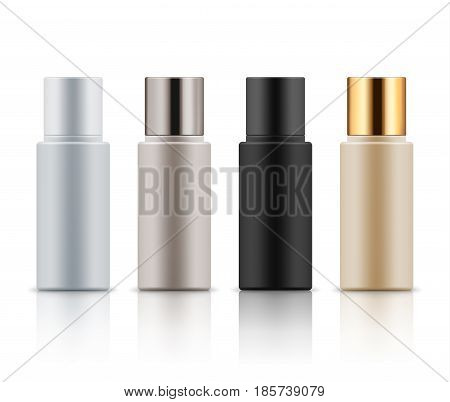 Mock-up of realistic plastic bottles. Empty and clean blank template for liquid cosmetic product lotion, gel, shampoo and moisturizer. Vector illustration isolated on white background