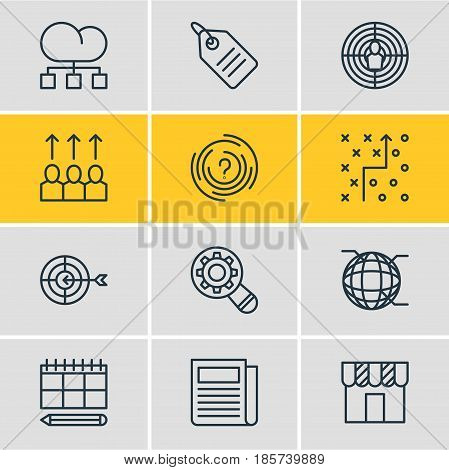 Vector Illustration Of 12 Ad Icons. Editable Pack Of Shop, Goal, Discount Label And Other Elements.