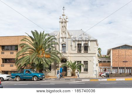 MALMESBURY SOUTH AFRICA - MARCH 31 2017: The Old Christian Youth Hall now offices of the Dutch Reformed Church in Malmesbury a town in the Swartland area of the Western Cape Province