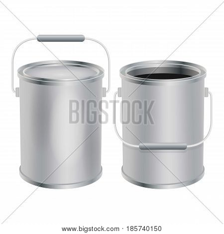 Blank paint buckets mockup. Realistic illustration of blank paint buckets vector mockup for web