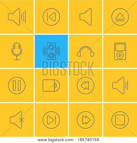 Vector Illustration Of 16 Melody Icons. Editable Pack Of Lag, Preceding, Rewind And Other Elements.