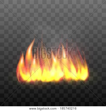 Realistic bright blazing campfire effect. Flaming bonfire, flame graphic design element. Vector illustration of fire isolated on black transparent background