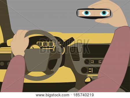 The driver in the car looks in the rear-view mirror.Vector illustration of car inside. Driver place in the automobile