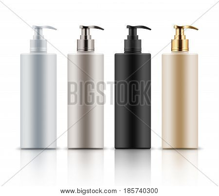 Empty and clean realistic plastic bottles with pump dispenser. Blank template container for shower gel, shampoo, cream or lotion. Mock up of white, black, beige and gold package for cosmetic product.