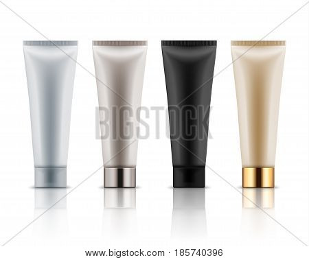 Realistic plastic tubes for cosmetic products. Vector set of blank template containers for gel of skincare, hand care cream, bb, face mask or foundation. White, black, beige, grey and golden colors