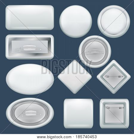 Badge souvenir mockup set. Realistic illustration of 10 badge souvenir mockups for web