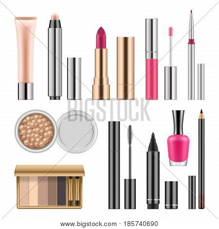 Set of cosmetics, lady makeup accessories lip stick, gloss, nail polish, eyeline, eye shadow, mascara, vector realistic illustration, template for ads or beauty magazine