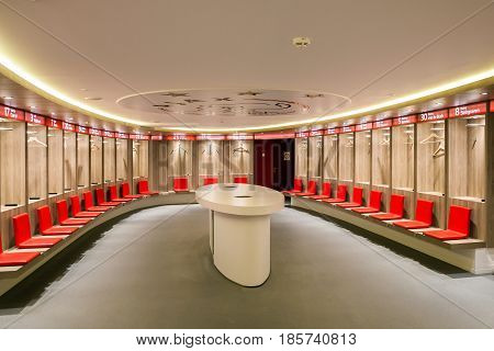 Amsterdam, Netherlands - April, 2017: Interior view of dressing room on Amsterdam Ajax Football Arena