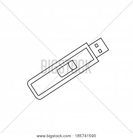 Usb memory flash line icon. Isolated vector on white background.