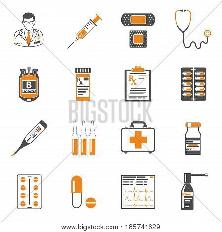 two color Set of medical and healthcare icons like Doctor, Health treatment, blood transfusion, cardiogram, prescription. isolated vector illustration