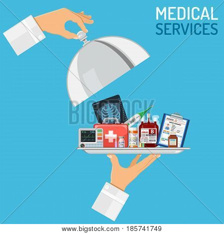 medical services concept with flat icons doctor hand holds tray with medicaments like blood container, medical card, thermometer. other hand holds cover. isolated vector illustration
