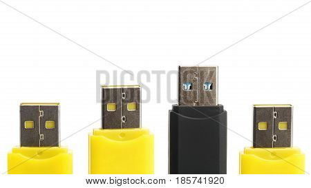 Yellow and black USB flash drives isolated on white background