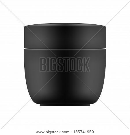 Vector blank template. Empty and clean jar with cap for cosmetic cream. 3d white plastic container for care face or gel for beauty skin. Mock-up of package.