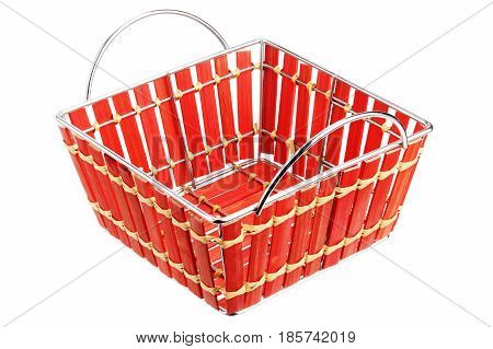 Empty red basket isolated on white background