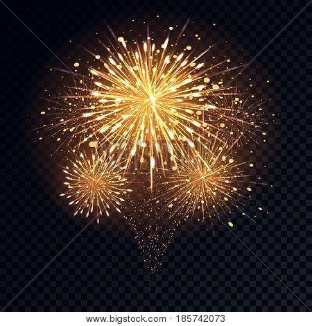 Abstract golden fireworks explosion on transparent background. Design of gold sparks from fireworks. Vector illustration