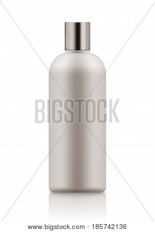 Empty and clean white bottle with cap for shampoo. Realistic 3d blank template plastic container for wash shower gel. Mock-up of package for cosmetic product. Vector illustration.