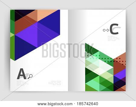 Modern business brochure or leaflet A4 cover template. Abstract background with color triangles, annual report print backdrop. design for workflow layout, diagram, number options or web design