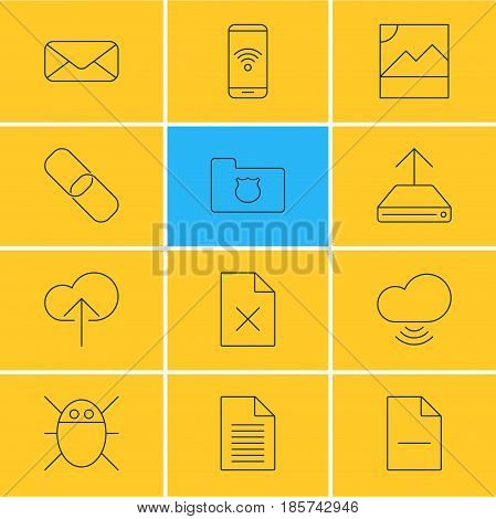 Vector Illustration Of 12 Web Icons. Editable Pack Of Computer Virus, Wave, Cloud Download And Other Elements.