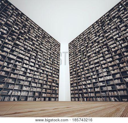 Library or bookshop , 3d render illustration