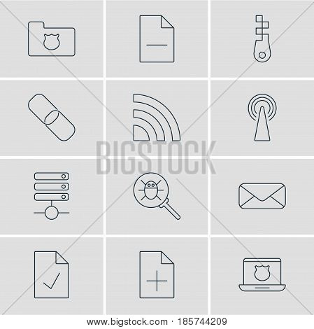Vector Illustration Of 12 Network Icons. Editable Pack Of Removing File, Letter, Router And Other Elements.