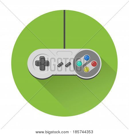 retro vintage joystick joypad videogame controller icon flat