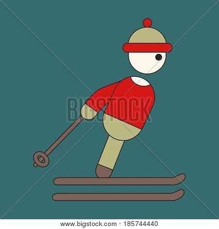 Icon in flat design skier sport winter