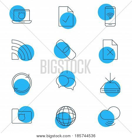 Vector Illustration Of 12 Web Icons. Editable Pack Of World, Refresh, Information Load And Other Elements.