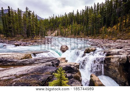 Sanvapta Great Falls in Jasper National Park. Small island in the middle of the river. Autumn trip to Canada. The concept of extreme and ecological tourism