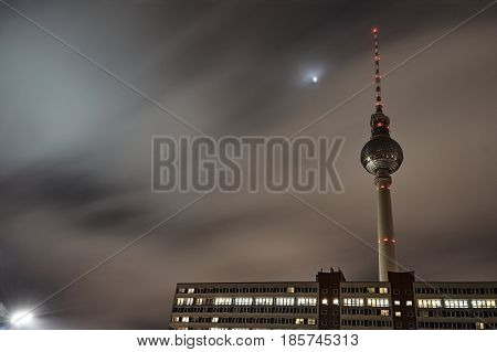 Tower radio - television in Berlin at night