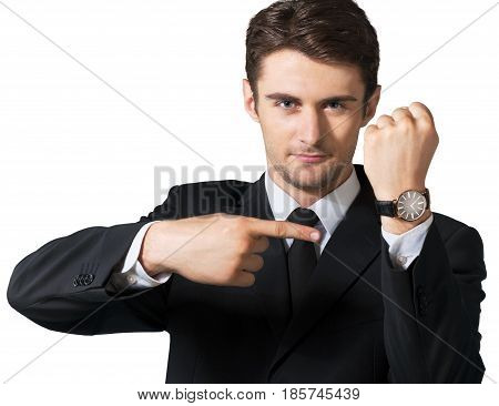 Businessman showing the time on his wrist watch