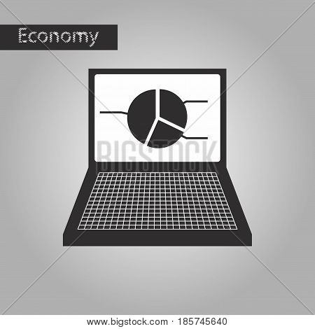 black and white style icon Laptop chart