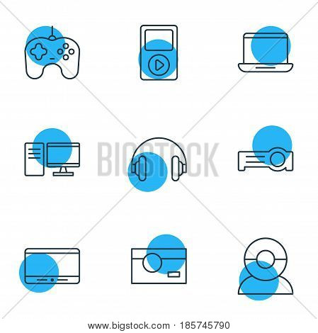 Vector Illustration Of 9 Hardware Icons. Editable Pack Of Media Controller, Joypad, Headset And Other Elements.