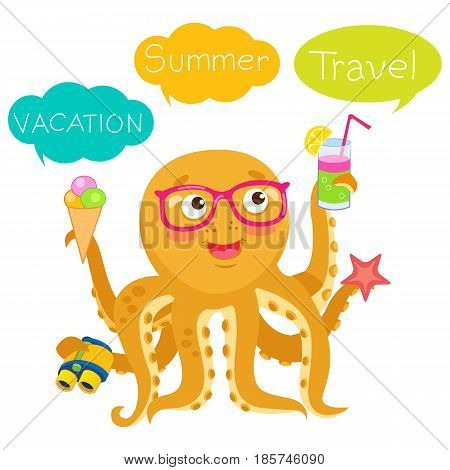 Vector Octopus Tentacle. Vector Octopus Cartoon Character Illustration. Summer Travel Illustration Mascot. Balloons With Text Vacation Travel Summer.
