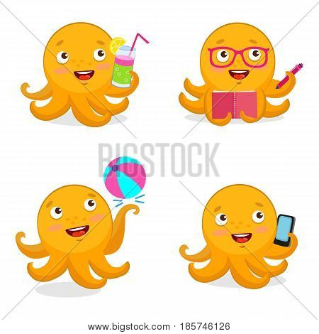 Cartoon Yellow Octopus Vector Set. Vector Octopus Tentacle. Vector Octopus Cartoon Character Illustration. Summer Travel Illustration Mascot.