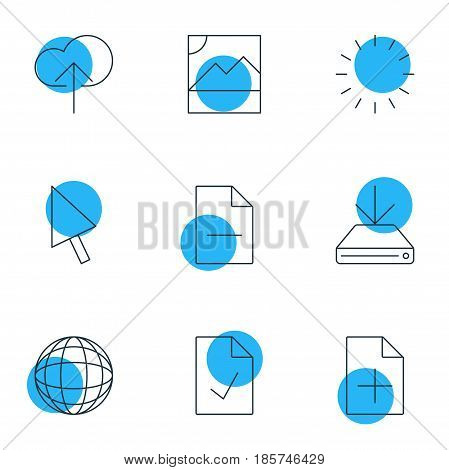 Vector Illustration Of 9 Web Icons. Editable Pack Of Checked Note, World, Pointer And Other Elements.