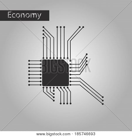black and white style icon microchip business