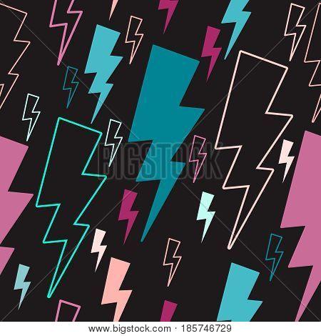 lightning seamless pattern. colored lightning on a dark background. line art. background.