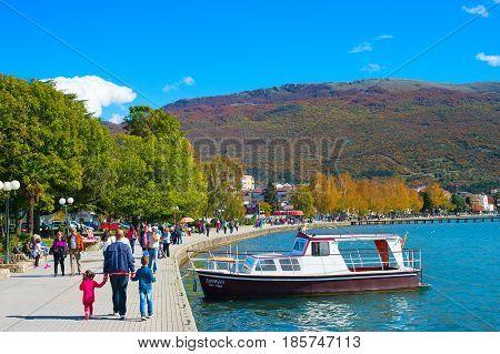Walk At Ohrid Lake. Macedonia