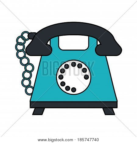color image cartoon silhouette retro telephone with cord vector illustration