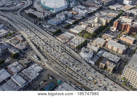 Los Angeles, California, USA - April 12, 2017:  Aerial view of the Santa Monica Freeway Interstate Route 10 in downtown LA.