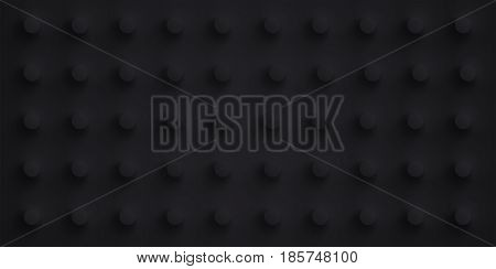 Volume realistic black embossing texture, depressed circles background, 3d geometric pattern, vector design dark wallpaper