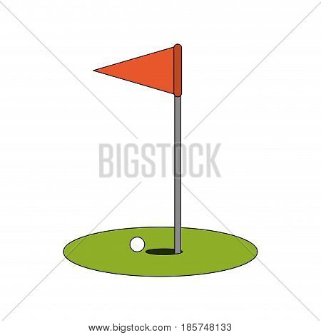color image cartoon golf flag with hole and ball vector illustration
