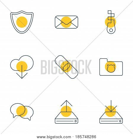 Vector Illustration Of 9 Web Icons. Editable Pack Of Letter, Fastener, Data Upload And Other Elements.