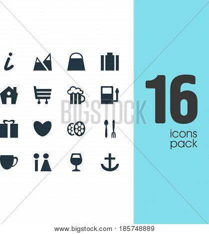 Vector Illustration Of 16 Travel Icons. Editable Pack Of Heart, Film, Cafe And Other Elements.