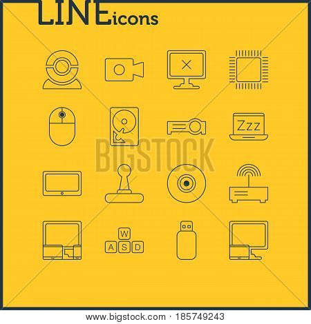 Vector Illustration Of 16 Computer Icons. Editable Pack Of Gadgets, Web Camera, Microprocessor And Other Elements.
