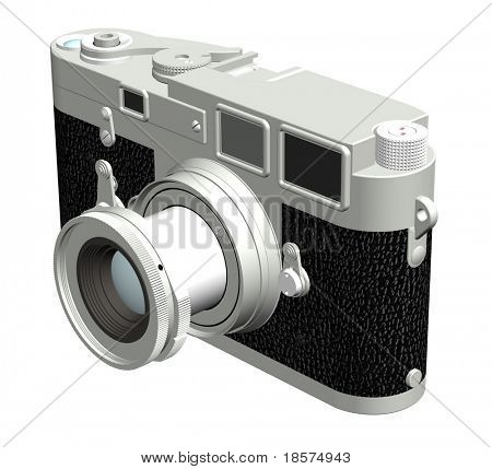 Three dimensional rendering of the right of a rangefinder camera with a 50mm lens.