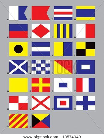 The 26 standard Maritime Signal Flags drawn in CMYK and placed on individual layers.